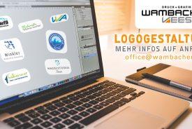 Logos auf Laptopdesktop